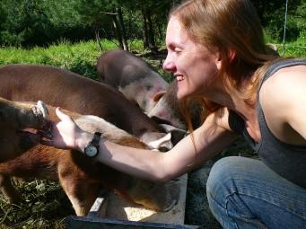 Erica snuffles her pigs.